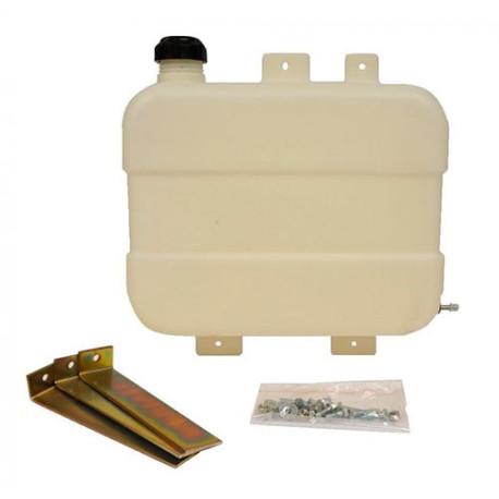 Plastic fuel tank with brackets